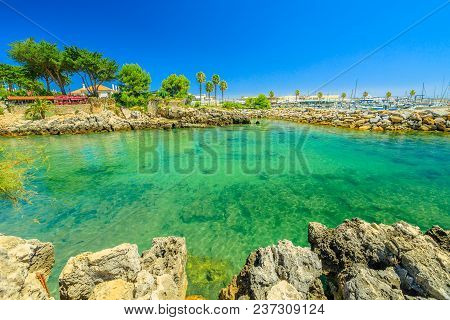 Cascais, Portugal. Scenic Landscape Of Turquoise Waters Of Cascais Bay On Tagus River Estuary In Atl