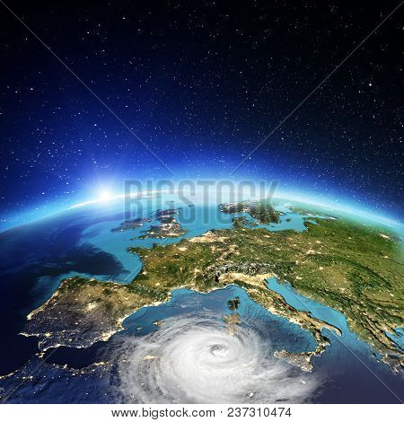 Europe Cyclone. Elements Of This Image Furnished By Nasa. 3d Rendering