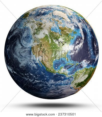 Planet Earth From Space. Elements Of This Image Furnished By Nasa. 3d Rendering