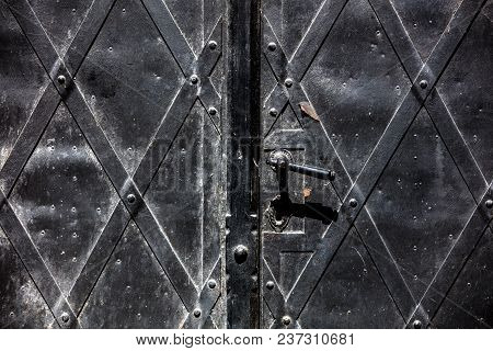 View At Old Door Lock In Catherdal Wroclaw, Poland