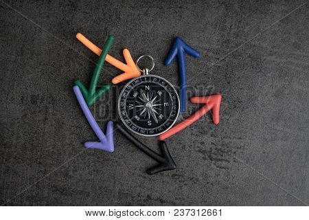 Uncertain Alternative Path Or Multiple Life Direction Concept, Compass At The Center With Magnet Arr
