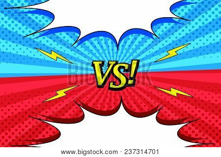 Comic Versus Bright Horizontal Background With Two Opposite Red And Blue Sides, White Speech Bubbles