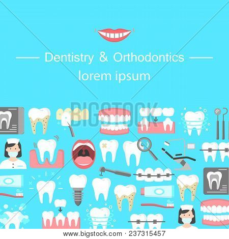 Dentistry And Orthodontics Flat Icons Banner With Dental Instruments Oral Cavity Denture Veneers Imp