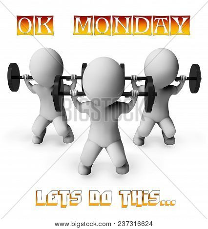 Monday Fitness Motivation - Lifting Weights - 3D Illustration