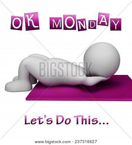 Monday Gym Motivation - Lets Do This - 3D Illustration