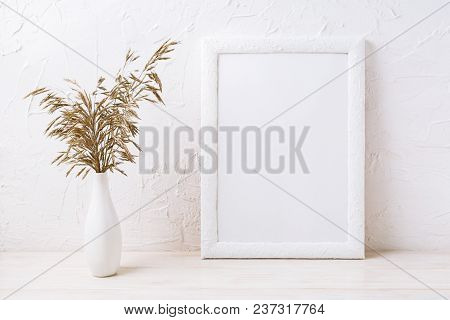 White Frame Mockup With Decorative Dried Grass