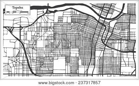 Topeka Kansas USA City Map in Retro Style. Outline Map.
