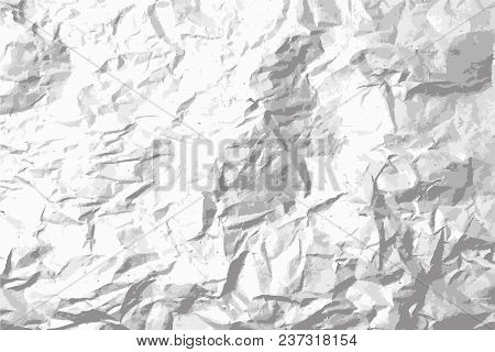 Dust Dot And Grain Grunge Crumpled Paper Background. Black And White Vector Texture Template For Ove