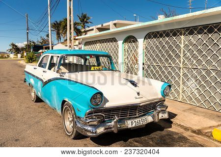 January 2018. A View Of A Classic Car Being Used As A Taxi In Varadero, Cuba.