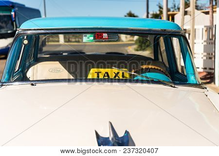 January 2018. A View Of A Classic Car Being Used As A Taxi In Varadero, Cuba