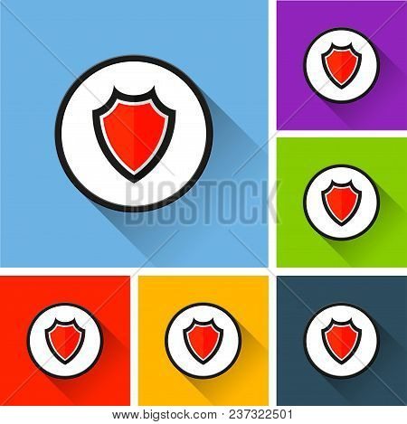 Illustration Of Shield Icons With Long Shadow