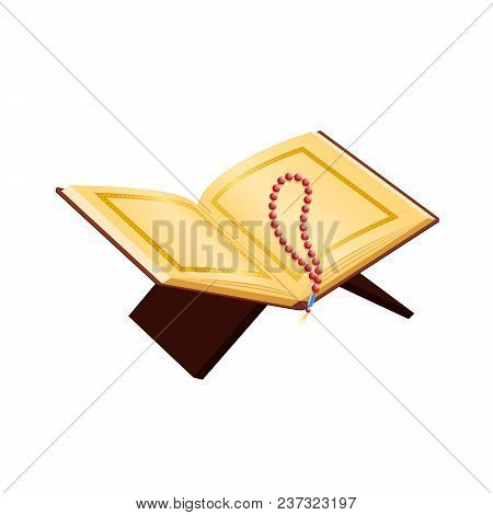 Traditional religious saint, prayer book, Islamic scripture. Quran Shareef on stand for Ramadan Kareem, prayer rosary, holy book of Muslims. Communion with God, prayer, faith. Vector illustration. poster