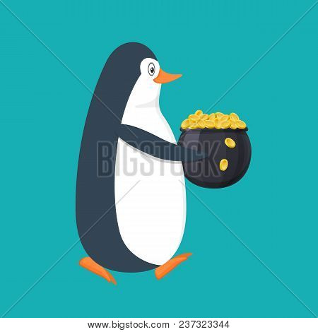 Funny Penguin, Antarctic Bird, With Pot Filled With Gold Coins In Hands. Holiday Saint Patrick. Trad