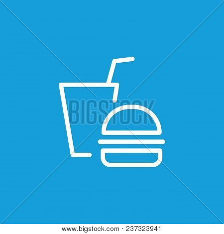 Line Icon Of Burger And Soda. Fast Food Restaurant, Unhealthy Eating, Junk Food. Eating Concept. Can