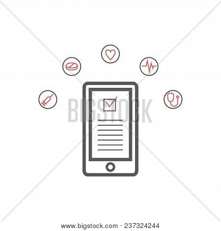 Mobile Medicine, Mhealth, Online Doctor. Modern Flat Design Graphic Concept, Line Icons Set For Web