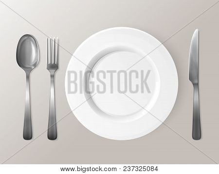 Spoon, Fork Or Knife And Plate 3d Vector Illustration. Isolated Realistic Set Of Table Dining Settin