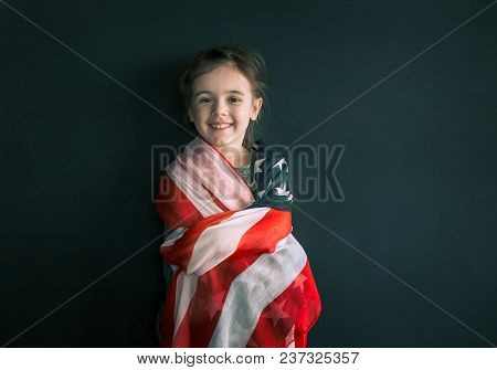 Little Girl With The American Flag