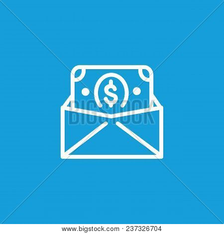 Icon Of Envelope With Money. Dollar, Salary, Cash. Finance Concept. Can Be Used For Topics Like Busi
