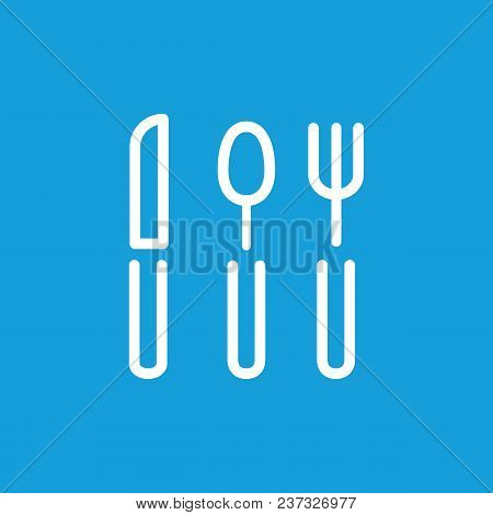 Line Icon Of Fork, Spoon And Knife. Flatware, Silverware, Dinner. Kitchenware Concept. Can Be Used F
