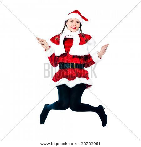 one woman dressed as santa claus jumping showing christmas product placement on studio isolated white background