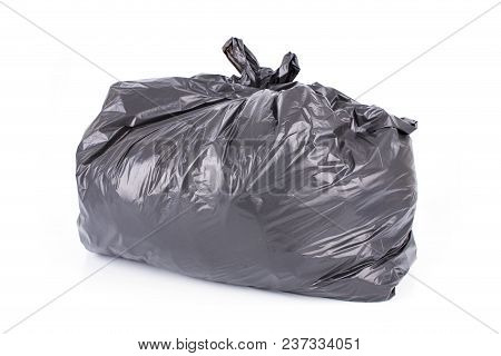 Black Garbage Bag Isolated On A White Background.