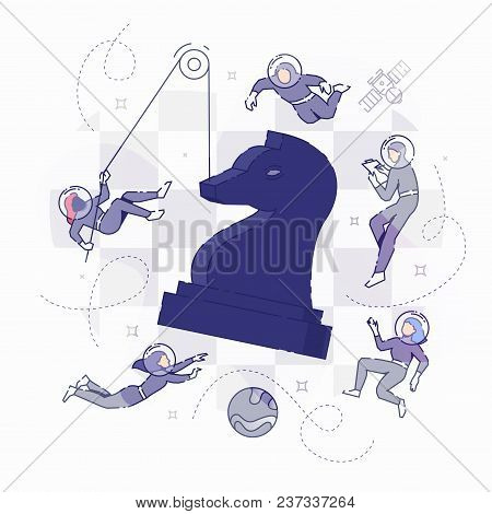 Vector Illustration Of Developers In Spacesuits Floating Around Big Chess Figure. Flat Line Design C
