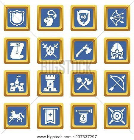 Knight Medieval Icons Set Vector Blue Square Isolated On White Background