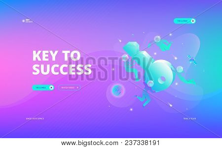 Vector Illustration Of Developers In Spacesuits Floating Around Big Symbolic Key In Space. Hero Imag