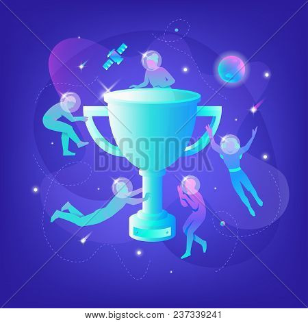 Vector Illustration Of Developers In Spacesuits Floating Around Big Symbolic Winner Cup. Business Me