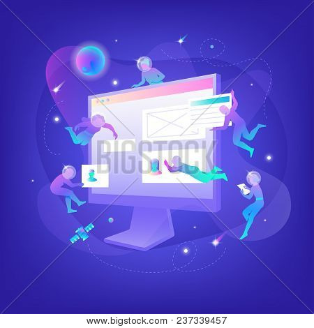 Vector Illustration Of Developers In Spacesuits Floating With Blocks Around Big Symbolic Monitor Whi