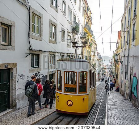 Lisbon - April 3: Top View Of Bica Elevator In A Narrow Street Of Lisbon On April 3 2018 In Lisbon,