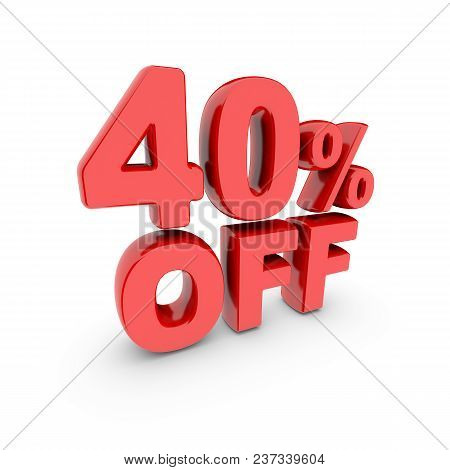 40 Percent Off Promotion. Discount Sign. Red Text Is Isolated On White. 3d Render