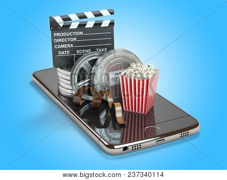 Mobile phone application for creating, seeing end editing video files and buying cinema tickets online. Smartphone with film reels, pop corn and clapperboard. 3d illustration