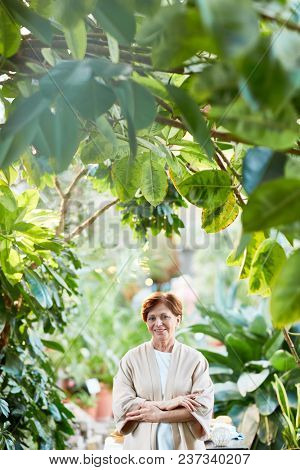 Casual aged female with her arms crossed on chest having promenade among green plants in the garden
