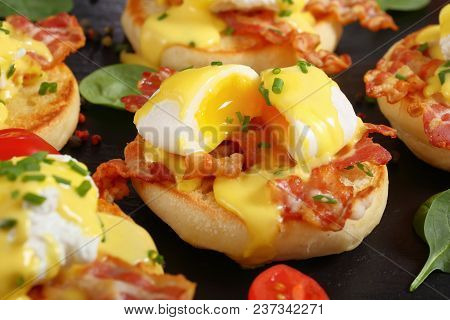 Eggs Benedict On A Plate, Close-up
