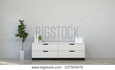 Tv Cabinet In Modern Empty Room 3d Illustration Home Designs,background Shelves And Books On The Des