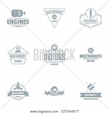 Motor Logo Set. Simple Set Of 9 Motor Vector Logo For Web Isolated On White Background