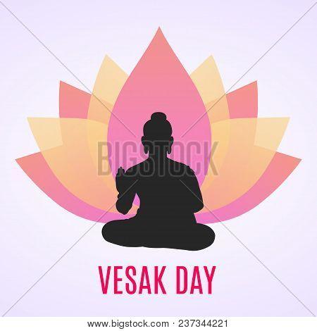 Abstract Lotus Flower Logo And Buddha. Happy Vesak Day. Vector Illustration.