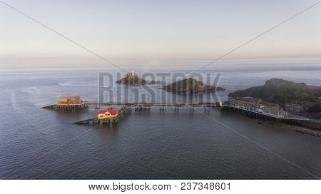 Editorial Swansea, Uk - April 20, 2018: An Aerial Evening View Of Mumbles Pier, Lighthouse And The N