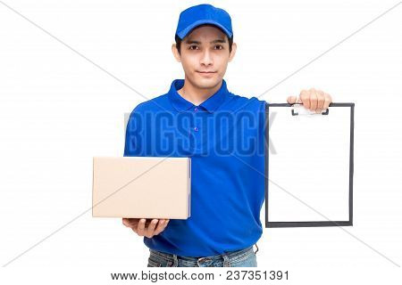 Deliveryman Holding Cardboard Box And Clipboard Isolated On White Background