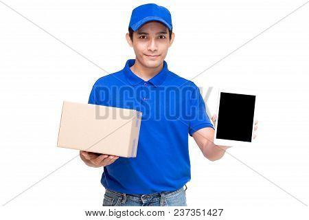 Deliveryman Holding Cardboard Box Isolated On White Background