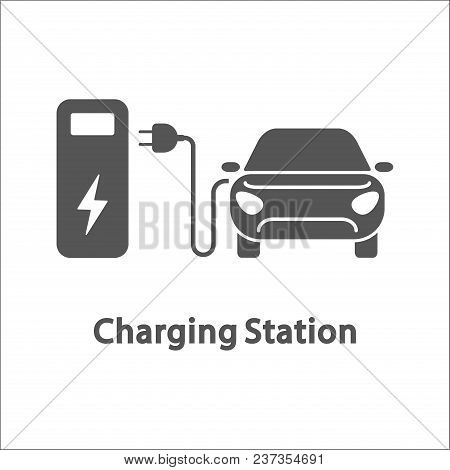 Electric Car And Charging Station. Electric Vehicle Charging Station, Electric Recharging Point, Sim