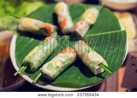 Vietnamese Food, Banh Chung, Banh Tet Are Traditional Eating On Tet Holiday