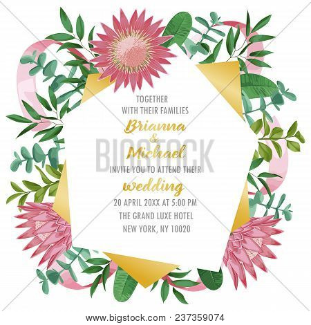 Floral Wedding Invitation With Geometric Frame, Protea Flowers, Herb And Bushes Branches In Watercol