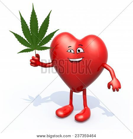 Heart With Arms, Legs And Marijuana Leaf On Hand, 3d Illustration