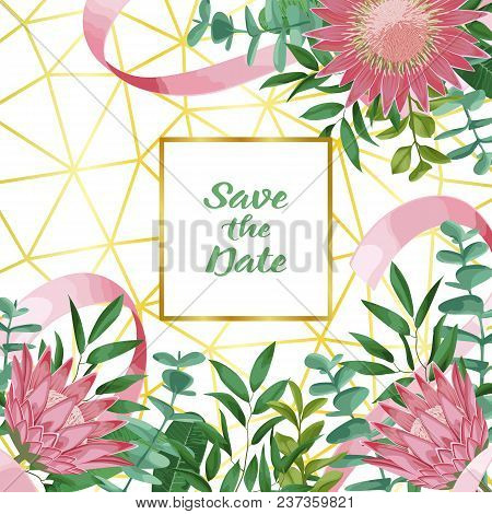 Save The Date Card With Geometric Gold Frame, Protea, Herb, Bushes Branches With Leaves In Watercolo