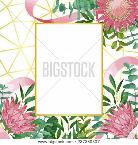 Romantic Template With Gold Frame, Protea Flowers, Herb And Bushes In Watercolor Style On Geometric