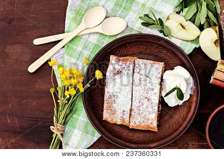 Strudel With Apples And Strawberries. Pie With Apples Or Classic Apple Strudel, Summer Pie. Summer B