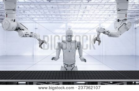 3d Rendering X-ray Robot Arms With Conveyor Line