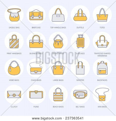 be3d56ce6d Women handbags flat line icons. Bags types - crossbody
